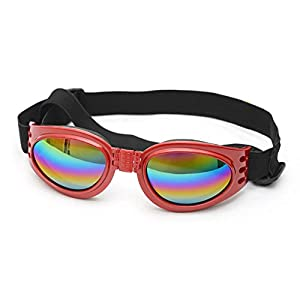 King Tsing Pet Goggles Dog Sunglasses Colorful UV Eyewear Protection with Adjustable Strap for Big Dogs over 15 LBS (Red)