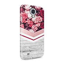Floral Red Roses & Pale Grey Wood Planks Block Hard Plastic Phone Case For Samsung Galaxy S4 Mini