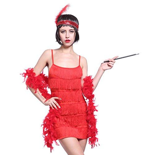20er Fransen Flapper Kleider Fransenkleid Tanzkleid Partykleid Charleston  Kostuem mit Zigarrettenhalter,Kopfband: Amazon.de: Bekleidung