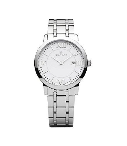 Kronos - Elegance White 974.8.35 -Reloj de caballero de cuarzo, brazalete de