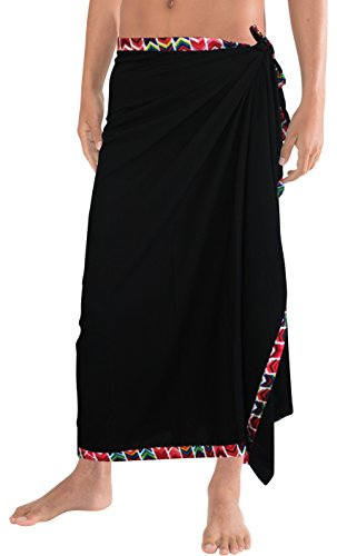 La Leela Smooth Lightweight Rayon Vintage Men Bathing Sarong 78X42 Inch Red (Sarong Beachwear)