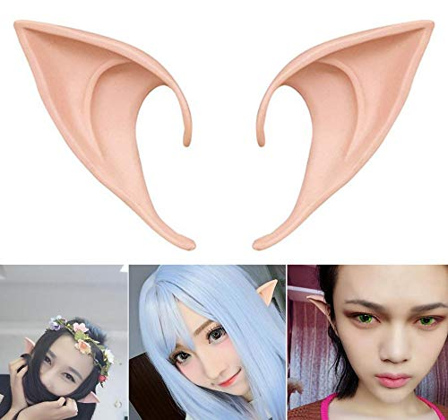 (COOLJOY 1 Pair Cosplay Fairy Pixie Elf Ears Accessories Halloween Party Anime Party Costume(Natural Skin)