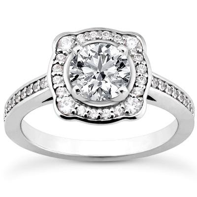 1.23 ct TW Round Diamond Modern Style Engagement Ring with Form Fit Matching Wedding Band Rings in 14 kt White Gold in Size 7.5