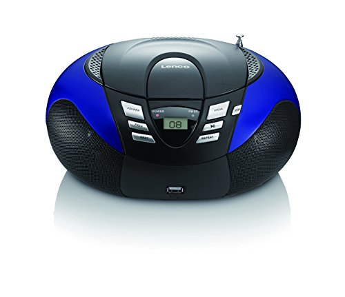 Lenco SCD-37 Tragbares UKW-Radio mit CD-Player (USB 2.0)blau