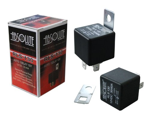 Absolute USA RLS-130 12 VDC Waterproof Relay with Metal Bracket for SPDT 30/40A