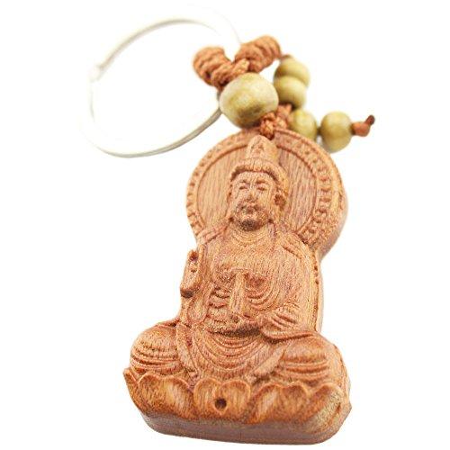 foy-mall Guan Yin sentado en Lotus Rosewood tallada Hombres Mujeres Llavero de Coche para Safe and Sound m1064