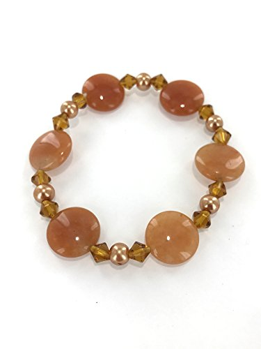 Gemstone Bracelet Yellow Aventuirne Gemstone Semiprecious Stone Stretch Bracelet 7.5