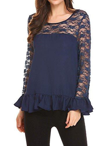 Yealsha Women's Long Flare Sleeve Blouse Ruffle Hem Shirt Tops Blue - Casual Contemporary