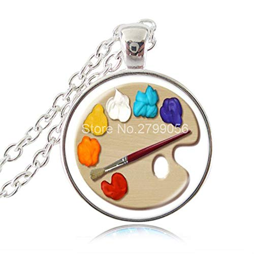 Color Palette Necklace Circular Painting Tray Photo Pendant Sweater Chain Fashion Jewelry Glass Cabochon Choker Artists Gifts