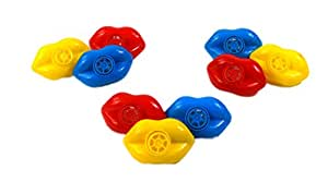 24 Pack Toy Lip Whistles - 24 Pcs - Fun Gift, Reward, Prize or Party Favor for Birthday Parties and Goody Bags - Assorted Colors - By Dazzling Toys