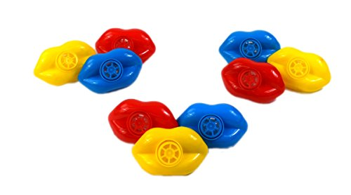 Toy Lip Whistles - 48 Pack - Fun Gift, Reward, Prize or Party Favor for Birthday Parties and Goody Bags - Assorted Colors - By Dazzling (Dentist Halloween Prop)