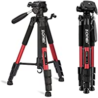 ZOMEI 55 Compact Light Weight Travel Portable Folding SLR Camera Tripod for Canon Nikon Sony DSLR Camera Video with Carry Case(Red)