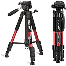 """ZOMEI 55"""" Compact Light Weight Travel Portable Folding SLR Camera Tripod for Canon Nikon Sony DSLR Camera Video with Carry Case(Red)"""
