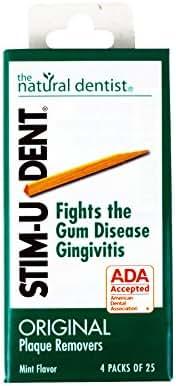 Stim-U-Dent Plaque Removers, Mint Flavor, 4 Packs of 25 (100 Picks)