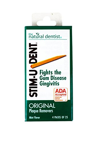 Stim-U-Dent Plaque Removers, Mint Flavor, 4 Packs of 25 (100 Picks) (Plaque Removers Stimudent Mint)