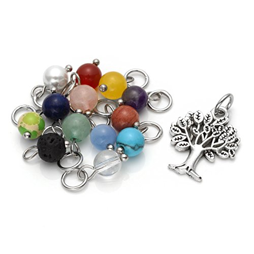 Top Plaza 13 Pcs Healing Crystal Chakra Birthstone Beads Pendants,1 Pc Silver Tree of Life Family Tree Charm Set for DIY Necklace Jewelry Making