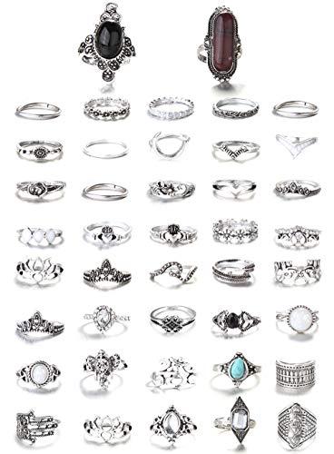 FIBO STEEL 43-59 Pcs Vintage Knuckle Rings for Women Girls Stackable Midi Finger Ring Set... (A1: 43 Pcs a Set) ...