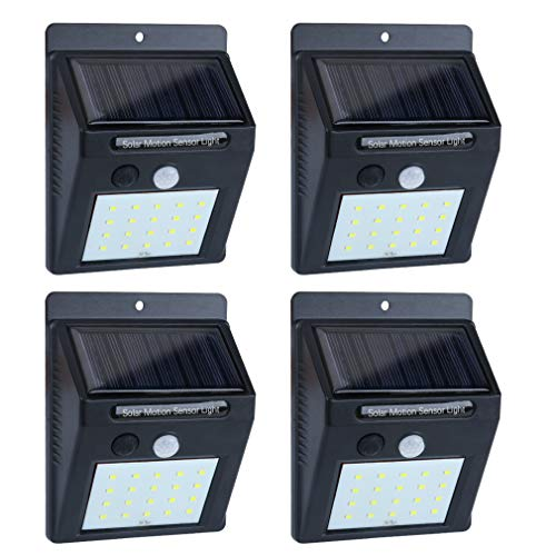 (Solar Lights Outdoor Motion Sensor, 20LED Solar Powered Lights, EWETON Waterproof Wireless Security Wall Lights Solar Lamps with Intelligent Modes for Garden/Deck/Fence/Yard/Gate/Patio/Garage-4 Pack )