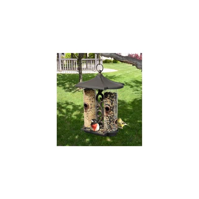 Whitehall Products Twin Tube Bird Feeder, Antique Copper
