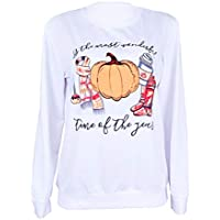 Unique Halloween,Gillberry Women Pumpkin Print Long Sleeve Sweatshirt Pullover Tops Blouse Shirt