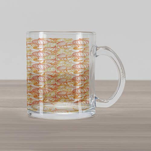 Lunarable Pumpkin Glass Mug, Line Art Style Colorful Gourd and Butternut Squash Vegetables of Autumn Season, Printed Clear Glass Coffee Mug Cup for Beverages Water Tea Drinks, Multicolor