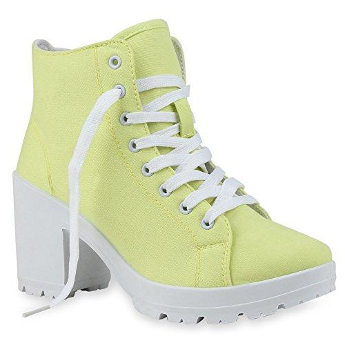 Stiefelparadies Damen Stiefeletten Schnürer Chunky Heels Profilsohle Schnürboots Blumen Schnürstiefeletten Boots Damenschuhe Schnürer Blockabsatz Schuhe Flandell Gelb