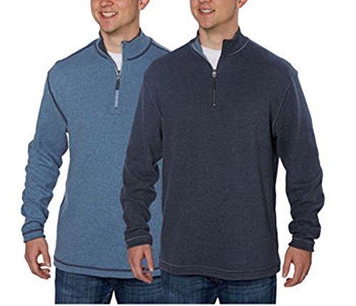 1/4 Jacket Zip Reversible (Age of Wisdom Mens Reversible 1/4 Zip Pullover Sweater (XX-Large, Blue/Sky))