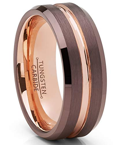 (Metal Masters Co. Men's Chocolate Brown and Rose Goldtone Tungsten Carbide Wedding Band Ring)