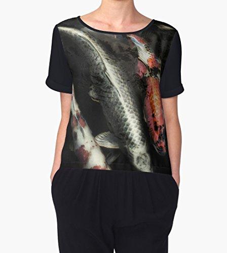 Koi Fish Abstract Print Chiffon Blouse | Short Sleeve Blouse | Designer Chiffon Blouse | Travel Wear | Scoop Neck Chiffon T | T Shirt Style Blouse ()