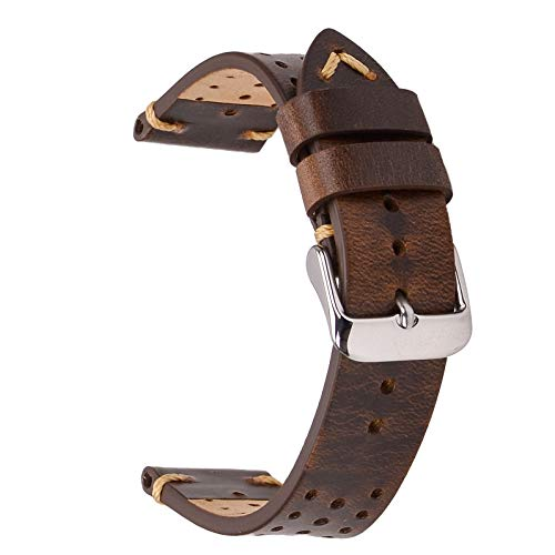 - Rally Racing Leather Watch Strap,EACHE Perforated 20mm Watch Bands,Veg-Tanned Watch Replacement for Men Women in Retro Brown