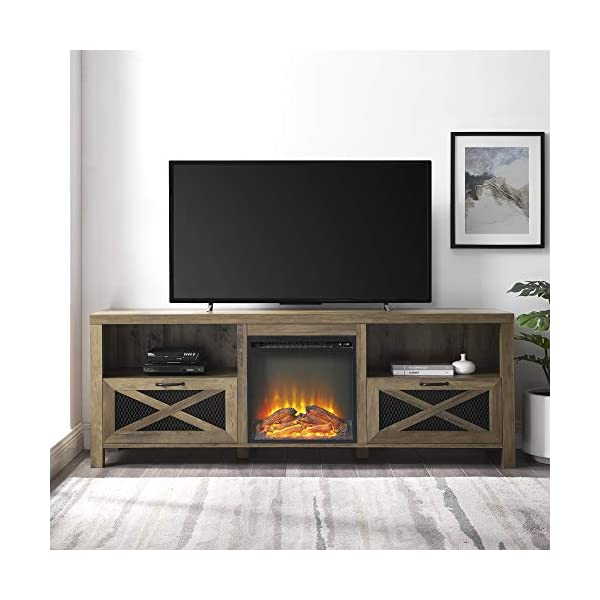 """Home Accent Furnishings 70"""" Rustic Farmhouse Fireplace TV Stand - Reclaimed Barnwood"""