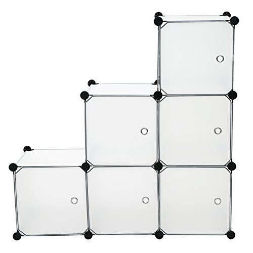 C&AHOME - DIY 6 Cube Storage Organizer Closet Media Storage Cabinet Bookcase Shelf Toy Rack with Doors, Translucent by C&AHOME