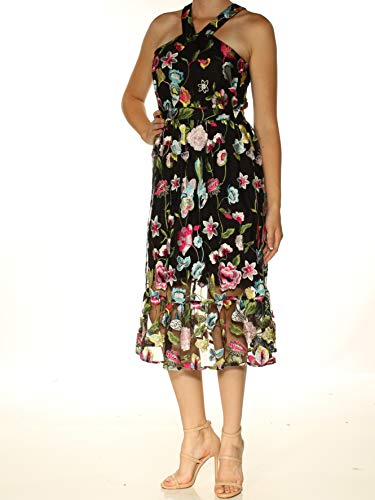 Cynthia Rowley Womens Black Floral Sleeveless Sheath Dress M from Cynthia Rowley