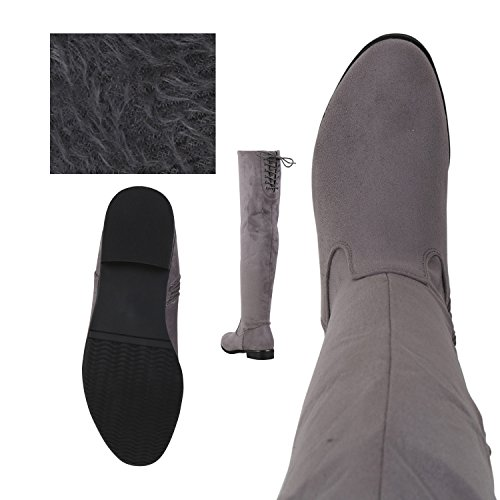 napoli-fashion Damen Overknees Gefütterte Stiefel Veloursleder-Optik Schuhe Elegante Winter Boots Winterschuhe Nieten Winterstiefel Jennika Grau Schleife