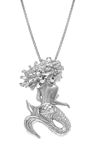 Honolulu Jewelry Company Sterling Silver Diamond Cut Mermaid Necklace Pendant with 18