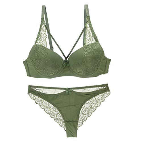 Lace Bra, Underwire Bra for Women See-Through Push Up Everyday Suit Underwear Green