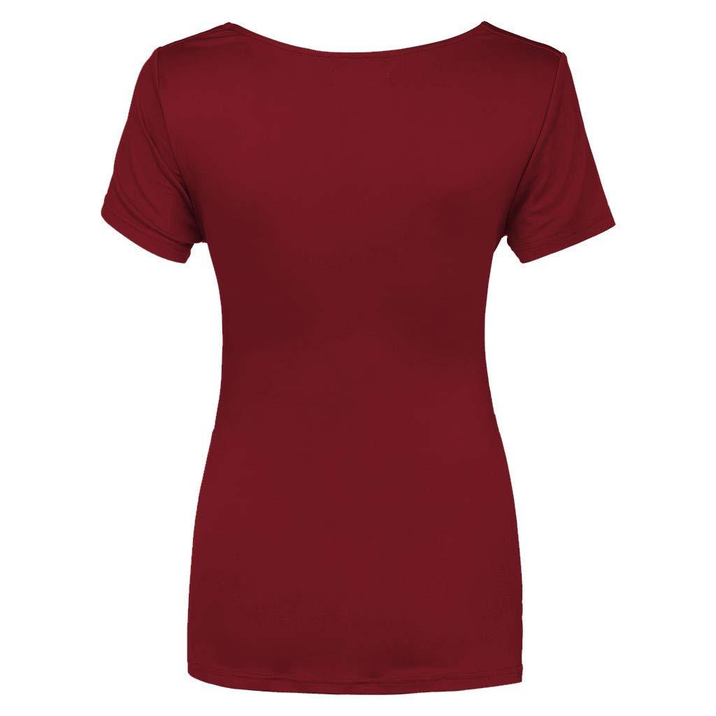 Viahwyt Umstandsmoden top,Still-Shirt//Umstandstop Schwangeres V-Ausschnitt Kurzarm Kreuz T-Shirt Falten einfarbig Oberteil