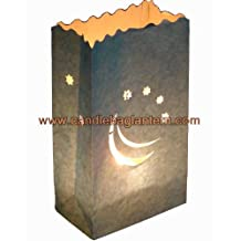 Silver Smiling Moon Candle Paper Bag Lantern Luminaire x 10