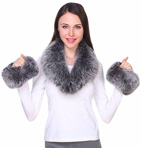 Giacche Gilet Autentica Coordinati Parka di Naturali Colori Nero Polsini Cappotti Donna per Pelliccia Frost Ferand Collo Volpe per e con di XwSqaB