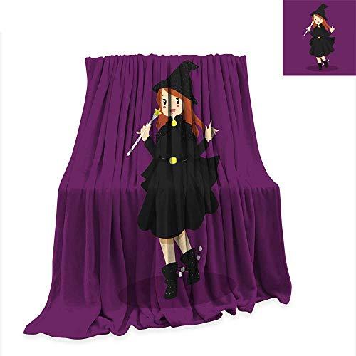 Anniutwo Custom Design Cozy Flannel Blanket Halloween Witch Costume -
