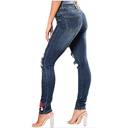 Classiche Strappati Alta Donne Blu Donna A Skinny Da Jeans Scuro Elasticizzati Vita Rosa Pantaloni Ricamati fzXAp