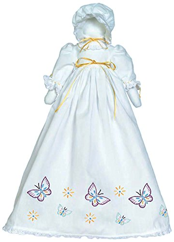Stamped White Pillowcase Doll Kit-Butterflies Galore 1900 Embroidery