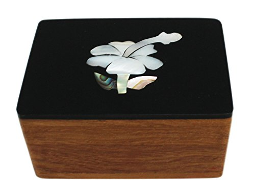 Faux Mother of Pearl Flower Artwork Wooden Jewelry Box