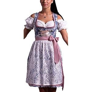419HuW7mdeL. SS300  - Golden-Trachten-Kleid-Dirndl-Damen-3-TLG-Midi-fr-Oktoberfest-mit-Schrze-und-Bluse-Fernblau-geblmt-536GT
