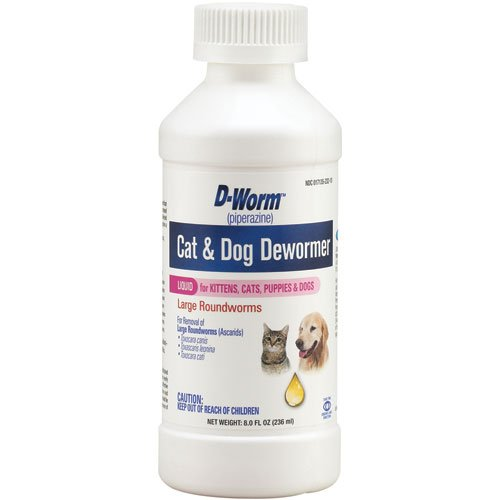 D-Worm Liquid for Kittens Cats and Dogs 8 oz