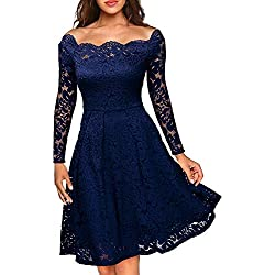 MISSMAY Women's Vintage Floral Lace Long Sleeve Boat Neck Cocktail Formal Swing Dress Navy Blue Large