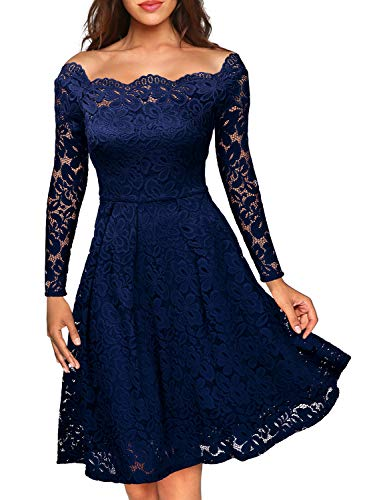 Misses Cocktail Dresses - MISSMAY Women's Vintage Floral Lace Long Sleeve Boat Neck Cocktail Party Swing Dress Large Navy Blue