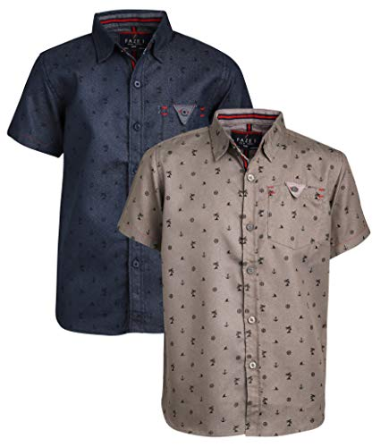 FAZE 1 Boys Woven Button Down Short Sleeve Collared Shirts with Chambray Detail - 2 Pack, Beach, Size 18