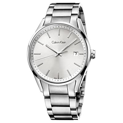 Calvin Klein Men's Formality Date Display Steel Watch with Silver Dial, K4M21146