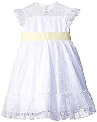 Laura Ashley London Little Girls' Toddler Illusion Top Point D'esprit Dress, Multi, 2T